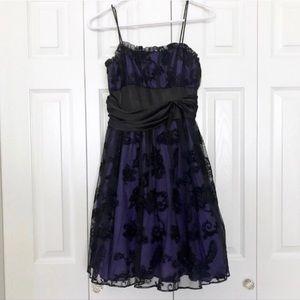 Blondie Nites Purple and Black Formal Dress